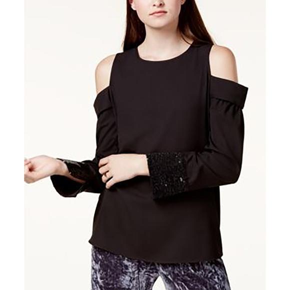 dce7b5cca229 Kensie Tops | Cold Shoulder Blouse Top Black Size L Party Long S ...